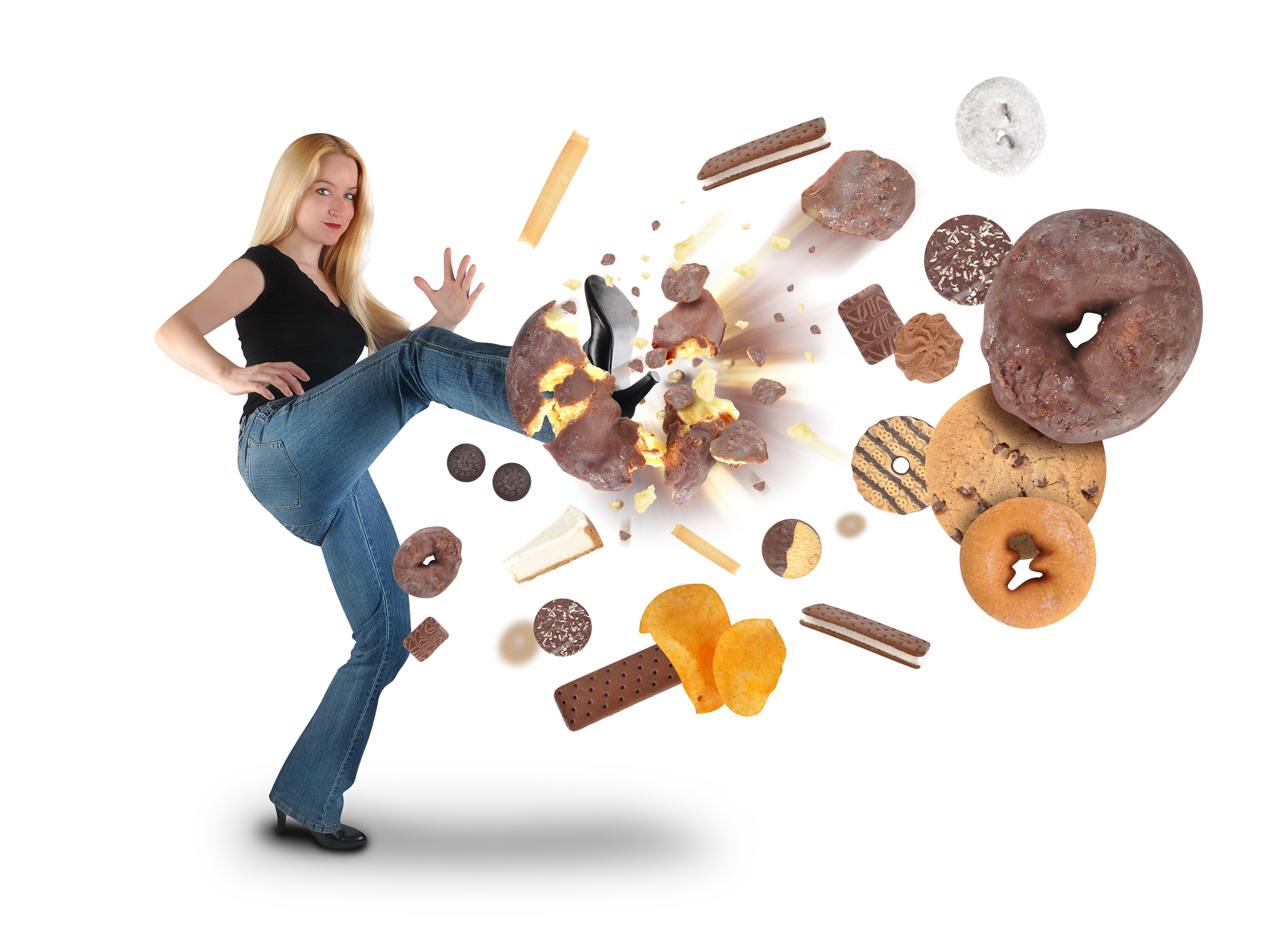 Diet Woman Kicking Donut Snacks on White